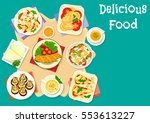 healthy cheese dish icon of... | Shutterstock .eps vector #553613227