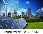 Stock photo modern green city powered only by renewable energy sources concept 553614883