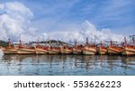 group of fishing boat anchor at ... | Shutterstock . vector #553626223
