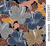 tropical flowers in orange ... | Shutterstock .eps vector #553637257