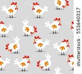 seamless cute chicken design... | Shutterstock .eps vector #553640317