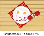 two egg fried and tomato sauces ... | Shutterstock .eps vector #553664743