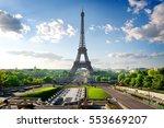 park with fountains near eiffel ... | Shutterstock . vector #553669207
