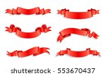 ribbon banner set.red ribbons... | Shutterstock .eps vector #553670437