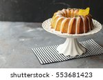 homemade lemon bundt cake with... | Shutterstock . vector #553681423