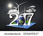 renewable energy 2017. year of... | Shutterstock . vector #553695517