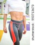 unrecognizable female showing... | Shutterstock . vector #553713673