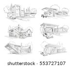 hand drawn cottage house sketch ... | Shutterstock .eps vector #553727107