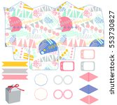 party set. gift box template.... | Shutterstock .eps vector #553730827