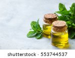 organic essential mint oil with ... | Shutterstock . vector #553744537