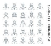 people faces avatars linear... | Shutterstock .eps vector #553745443