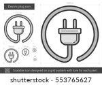 electric plug vector line icon... | Shutterstock .eps vector #553765627