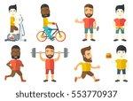 young sportsman running. happy... | Shutterstock .eps vector #553770937