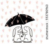 cute hand drawn rabbit under... | Shutterstock .eps vector #553780963