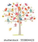 cute vector card. birds family... | Shutterstock .eps vector #553804423