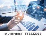 double exposure of businessman... | Shutterstock . vector #553822093