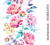 abstract watercolor floral... | Shutterstock . vector #553831453