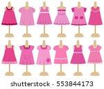 children's dresses in flat... | Shutterstock .eps vector #553844173