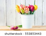 Bouquet Of Tulips In A Bucket...