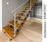 Wooden Stairs With Silver...
