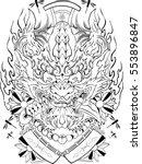 oni japan design tattoo   Shutterstock .eps vector #553896847