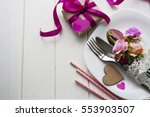 knife fork spoon and roses | Shutterstock . vector #553903507
