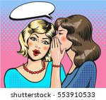 Women Whisper. Pop Art Retro...