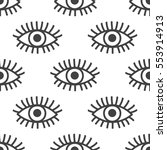 seamless pattern with eyes.... | Shutterstock .eps vector #553914913
