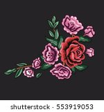 Stock vector vintage patch embroidery flowers 553919053