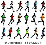 runners  in colored sportswear... | Shutterstock .eps vector #553922377