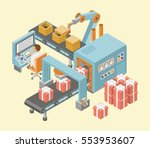conveyor system in flat design. ... | Shutterstock .eps vector #553953607