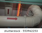 Small photo of Pipes ventilation pointer direction of air flow.