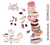 cakes  sweet desserts and... | Shutterstock .eps vector #553963123