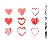 vector hearts set. | Shutterstock .eps vector #553990957