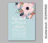anemone wedding invitation card ... | Shutterstock .eps vector #553994983