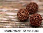 Brown Woven Wicker Balls.