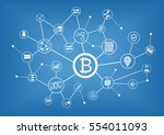 bitcoin vector illustration... | Shutterstock .eps vector #554011093