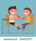 children  two boys eat... | Shutterstock .eps vector #554012077