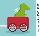 rex dinosaur in train wagon | Shutterstock .eps vector #554014207
