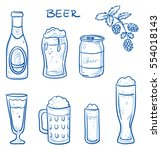 icon set of different beer... | Shutterstock .eps vector #554018143