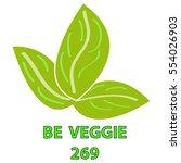 Veggie Symbol Leaf On White...