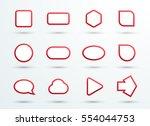 vector 3d red text box frames... | Shutterstock .eps vector #554044753
