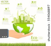 environmentally friendly world. ... | Shutterstock .eps vector #554068897