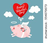 angelic pig hanging on a heart...   Shutterstock .eps vector #554070073