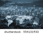 world map connection with... | Shutterstock . vector #554131933