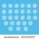 cute english alphabet vector... | Shutterstock .eps vector #554153557