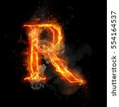 fire letter r of burning flame. ... | Shutterstock . vector #554164537