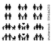 vector gay family with children ... | Shutterstock .eps vector #554166253