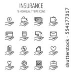 set of insurance in modern thin ... | Shutterstock .eps vector #554177317