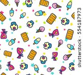 doodles cute seamless pattern.... | Shutterstock .eps vector #554187973